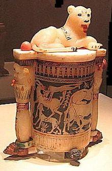 220px-Lioness_Bast_cosmetic_jar_83d40m_tut_burial_artifact